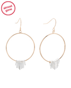 Two Tone Frontal Hoop Earrings