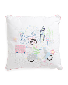 Kids 20x20 London Girl Pillow