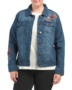 Plus Embroidered Denim Jacket