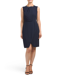 Petite Silky Jewel Neck Dress