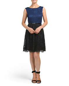 Petite Two Tone Belted Lace Dress