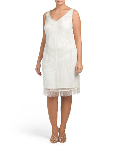 Plus Beaded Cocktail Dress With Fringe