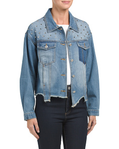 Studded Denim Jacket With Fray Hem