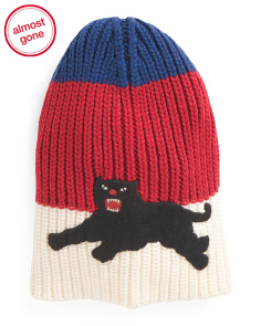 Made In Italy Patch Panther Wool Hat