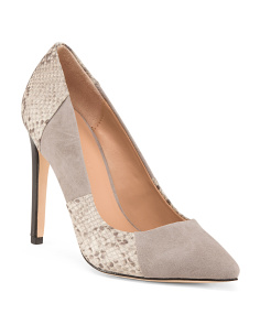 Reptile Embossed Suede Pumps
