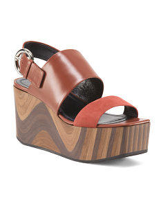 Made In Italy Leather Slingback Wedge Sandals
