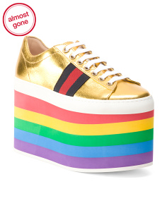 Made In Italy Suola Gommata Rainbow Leather Sneakers