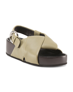 Made In Italy Leather Slingback Sandals