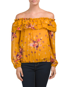Petite Floral Off The Shoulder Blouse
