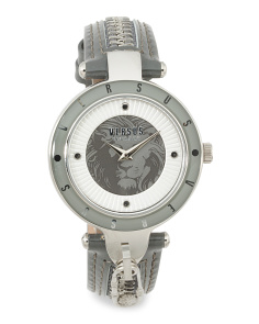 Women's Key Biscayne II Leather Strap Zipper Watch