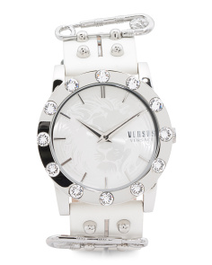 Women's Miami Swarovski Crystal Bezel Leather Strap Watch