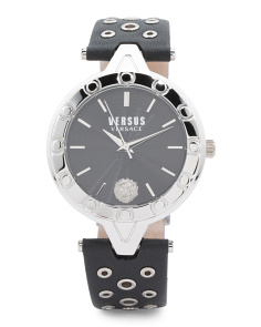 Women's V Eyelet Leather Strap Watch