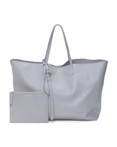 Made In Italy Open Leather Shopper