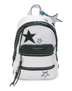 Applicated Stars Leather Backpack