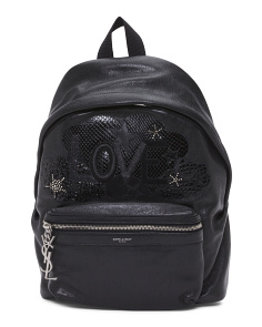 Made In Italy Love City Patch Leather Backpack