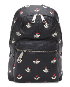 Embellished Tulip Leather Backpack