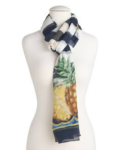 Made In Italy Silk Multicolor Print Scarf