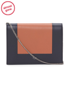 Made In Italy Frame Leather Clutch