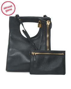Made In Italy Grained Leather Shoulder Bag