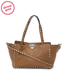 Made In Italy Rockstud Leather Shopping Bag