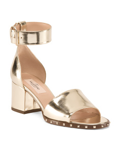 Made In Italy Block Heel Leather Sandals