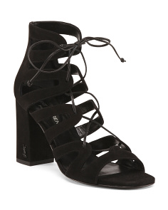 Made In Italy Block Heel Strappy Suede Sandals