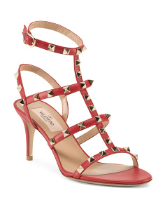 Made In Italy Ankle Strap Rockstud Leather Sandals