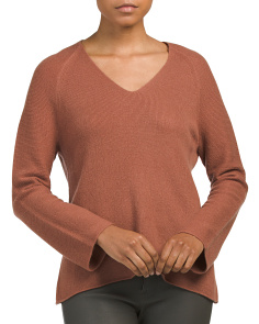 Deep V Cashmere Pullover Sweater