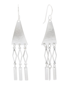 Made In USA Sterling Silver Plated Chandelier Earrings