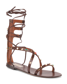 Made In Italy Ankle Wrap Leather Sandals