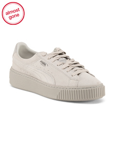 Tonal Suede Platform Fashion Sneakers