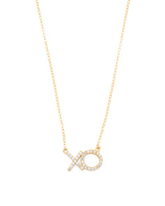 Made In USA 14k Gold Plated Vermeil Cubic Zirconia X O Necklace