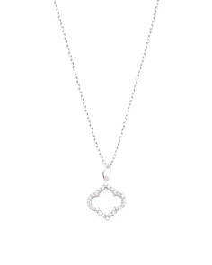Made In USA Rhodium Plated Vermeil Cz Royal Clover Necklace