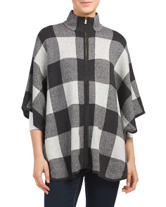 Zip Front Poncho With Collar