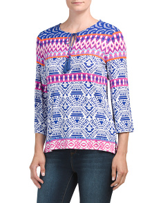 Petite Tie Neck Printed Top