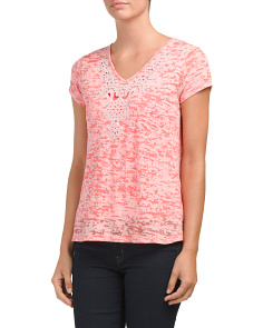 Petite Textured Burnout V-neck Tee