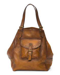 Made In Italy Studded Leather Tote