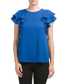 Petite Made In USA Double Ruffle Top