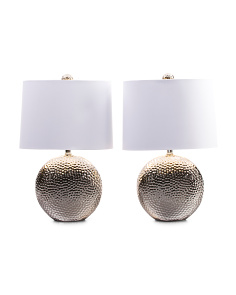 Set Of 2 Hammered Round Lamps