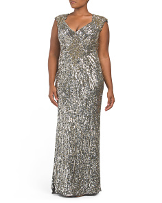 Plus Sequin V-neck Gown