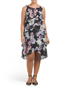 Plus Tiered Chiffon Floral Dress