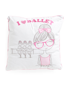 Kids 18x18 I Love Ballet Pillow