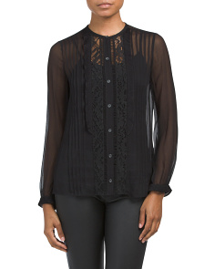 Long Sleeve Silk & Lace Top