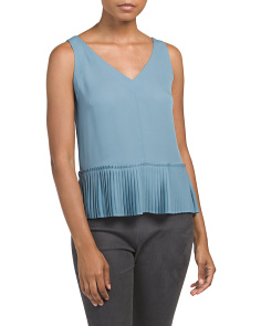 Sleeveless Silk Pleated Bottom Tank