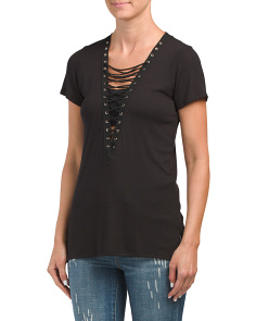 Juniors Made In USA Lace Up Deep V Top