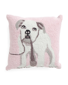 16x16 Hand Hooked Bulldog Pillow