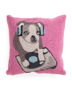 16x16 Hand Hooked Dj Boston Terrier Pillow