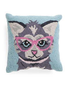Kids 16x16 Hand Hooked Cat Pillow