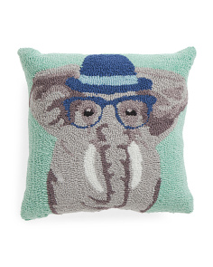 Kids 16x16 Hand Hooked Elephant Pillow