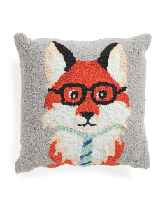 Kids 16x16 Hand Hooked Fox Pillow
